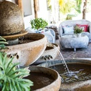 Calming water features and fountains in the garden and reception area.